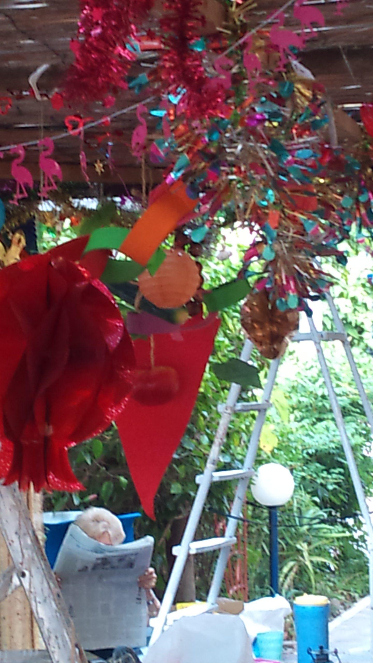 Under the Sukkah decorations