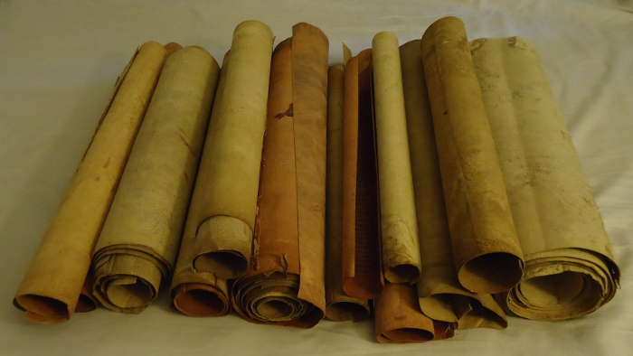 PIle of ancient scrolls